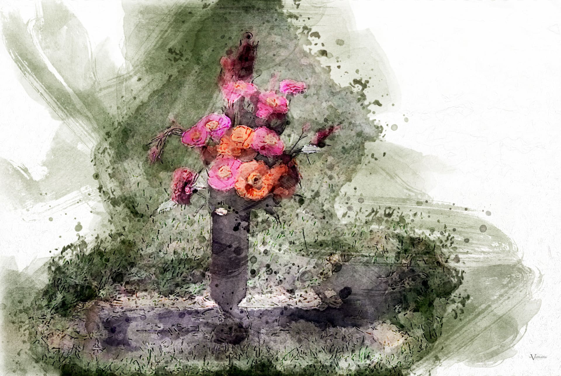 Grave Marker with Flowers