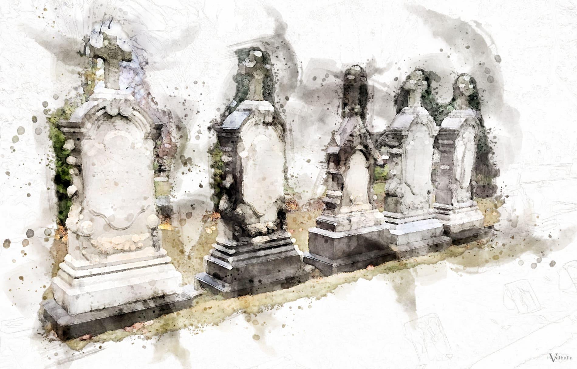 Row of grave headstones