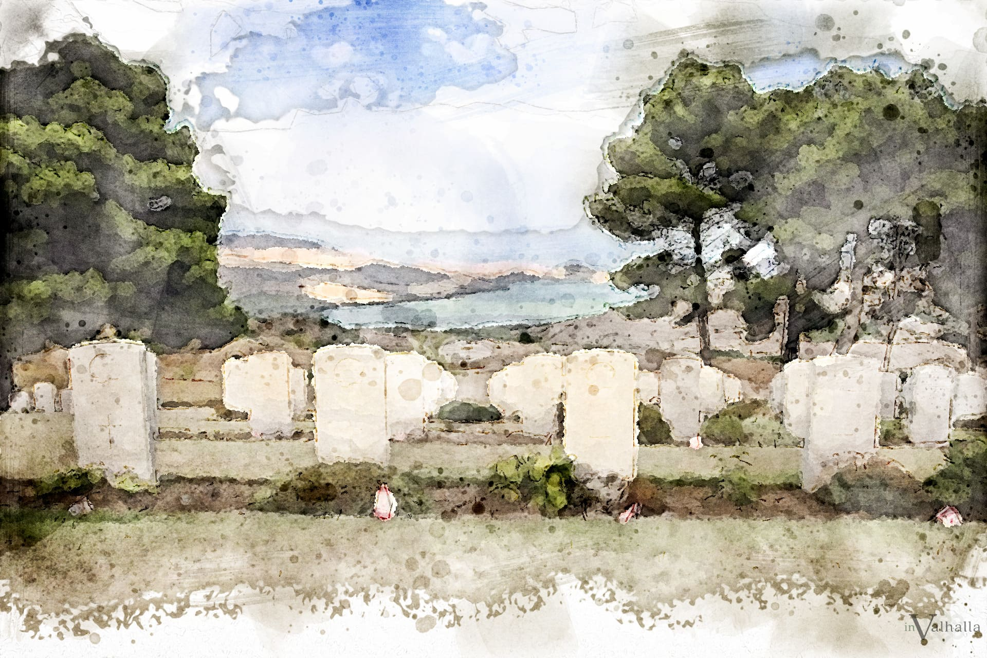 Upright Marker Headstones in Cemetery